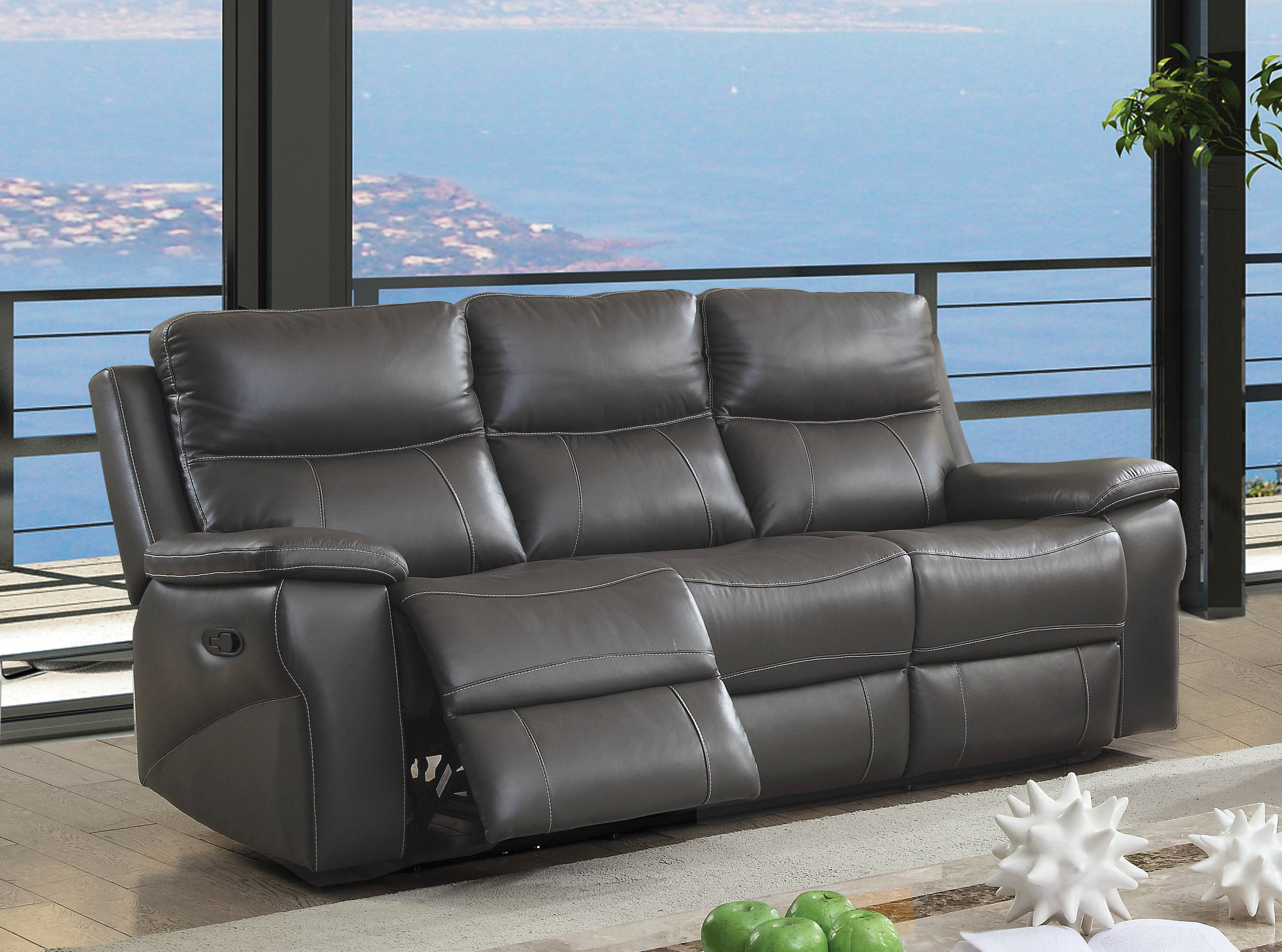 Furniture of America Michael Contemporary Leather Recliner Sofa ...