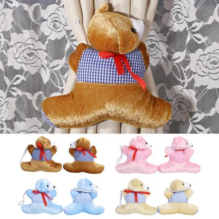 f3422ec5e1b 1 Pair Baby Kid Cartoon Bear Holder Nursery Bedroom Curtain Tieback Buckle  Home Decor Brown