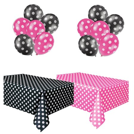 - Kedudes Polka Dot Plastic Tablecloth Hot Pink & White and Black & White, and Two Packages of Polkadot Balloons.