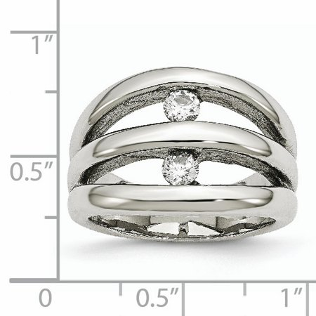 Stainless Steel Polished CZ Ring 9 Size - image 2 de 7