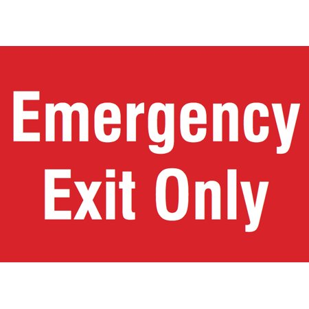 Emergency Exit Only Red Sign - Business Door Warning Directional Signs (Directional Sign)