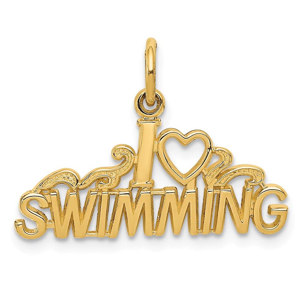 14k Yellow Gold I Love Swimming Pendant