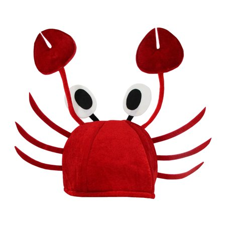 Red Crab Sea Animal Novelty Lobster Hat Costume Adult Child Cap Poseable Claws