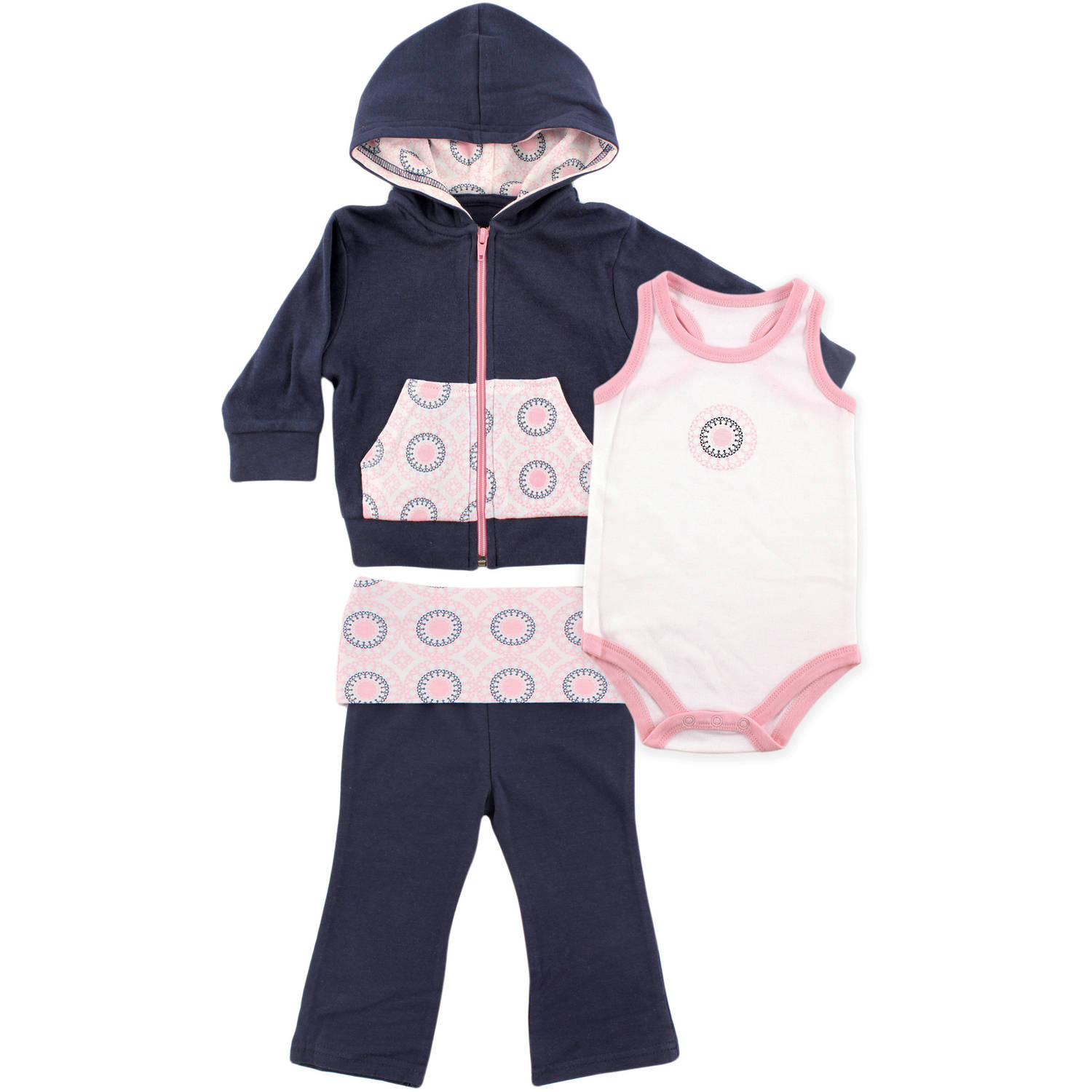 Yoga Sprout Newborn Baby Girls Hoodie, Racerback Bodysuit & Yoga Pant Set - Ornamental