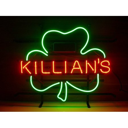 Desung Brand New George Killian's Irish Red Shamrock Neon Sign Lamp Glass Beer Bar Pub Man Cave Sports Store Shop Wall Decor Neon Light 20