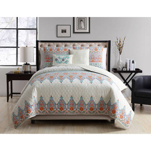 VCNY Home Global-Inspired Andrea Reversible 4 5 Piece Bedding Quilt Set with Decorative... by Victoria Classics