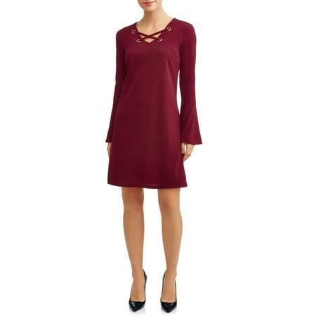 Women's Bell Sleeve Lattice Front Dress