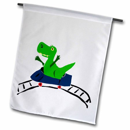 Image of 3dRose Funny Green T-rex Dinosaur on Roller Coaster - Garden Flag, 12 by 18-inch
