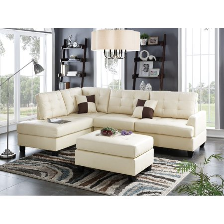 Mathew Sectional Sofa Set Classic Beige Faux Leather Sofa Chaise