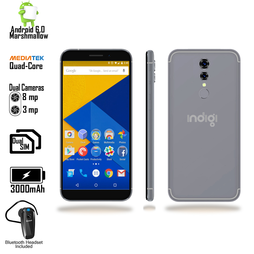 "Indigi® Unlocked 5"" 4G 2Sim Android 6.0 SmartPhone AT&T Straight Talk + Bluetooth bundle"