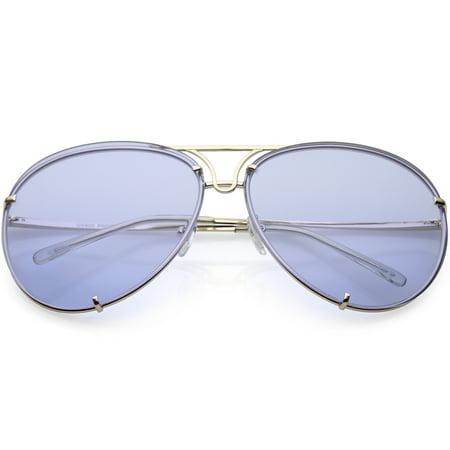 635440afea sunglass.la - Oversize Rimless Aviator Sunglasses Unique Double Crossbar Color  Tinted Lens 69mm (Gold   Blue) - Walmart.com