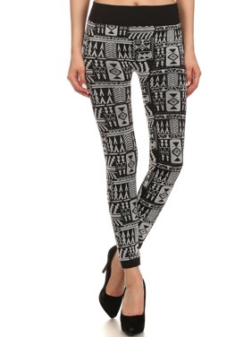 86c4123da7ae7 Product Image Women's Print Seamless Fleece Lined Leggings w/Mix Tribal  Flocking,White10,S/. BASILICA