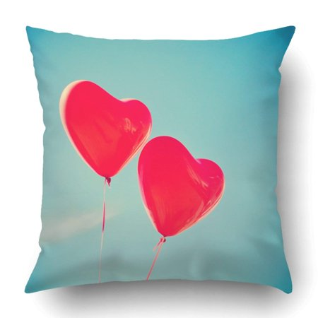 ARTJIA Red Heart Retro Love Balloons On Blue Sky Colorful Valentine Day Air Artist Pillowcase Cover Cushion 18x18 inch
