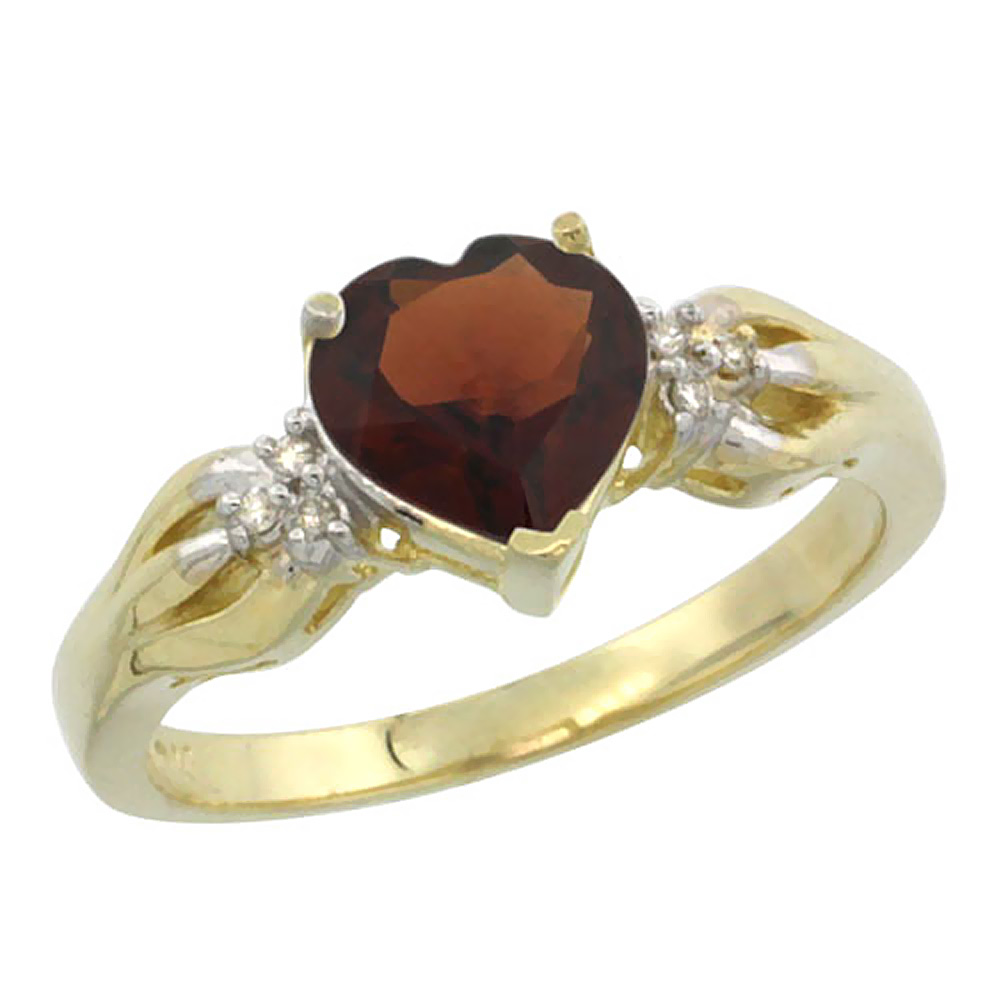 10K Yellow Gold Natural Garnet Ring Heart-shape 7x7mm Diamond Accent, sizes 5-10 by WorldJewels