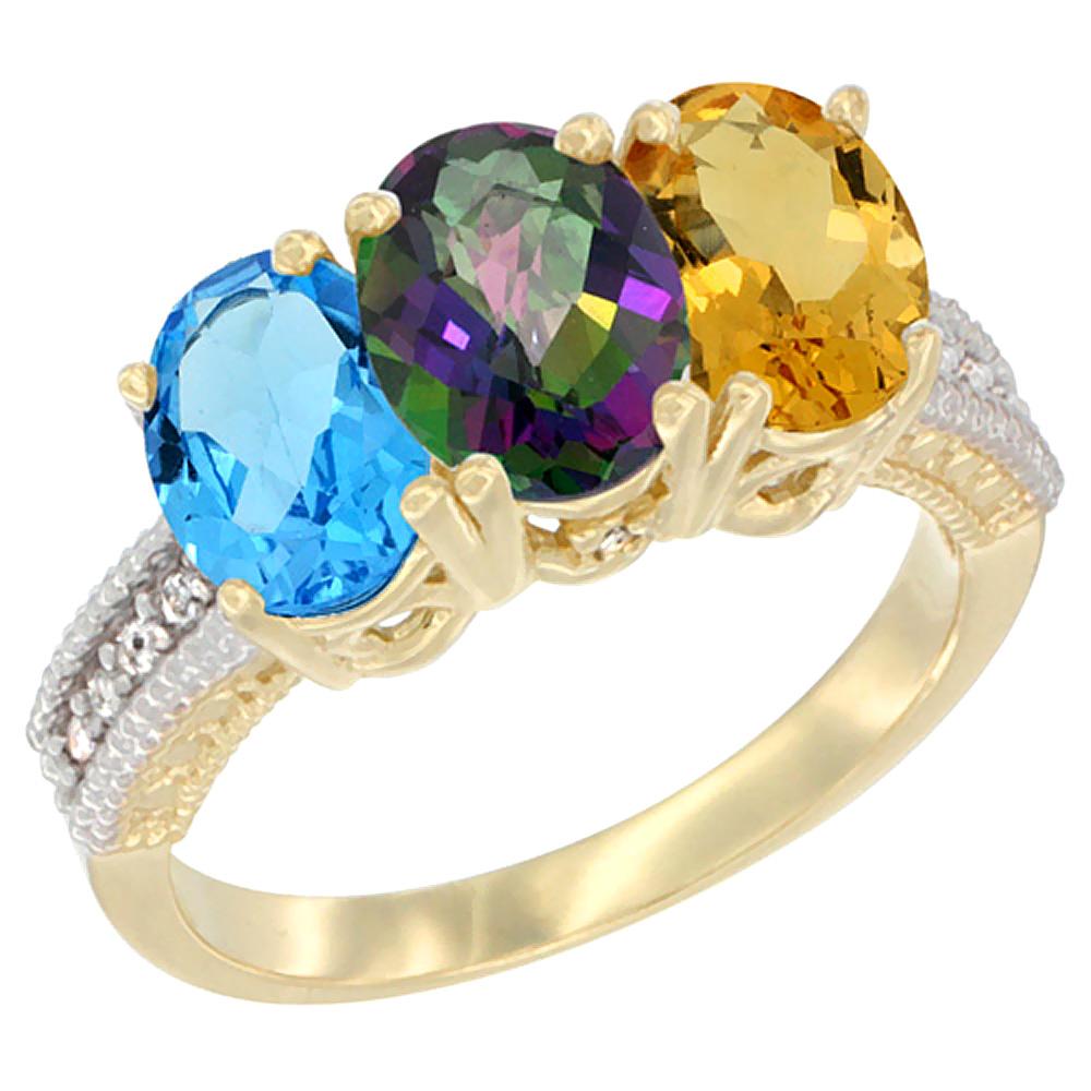 10K Yellow Gold Diamond Natural Swiss Blue Topaz, Mystic Topaz & Citrine Ring 3-Stone Oval 7x5 mm, sizes 5 10 by WorldJewels