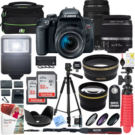 Canon EOS Rebel T7i DSLR Camera with EF-S 18-55mm IS STM & Canon 75-300mm Lens + 2x 32GB Ultra SDHC UHS Class 10 Memory Card + Accessory Bundle (2 Lens Kit EF-S 18-55mm & EF (Top 10 Best Cameras For Photography)