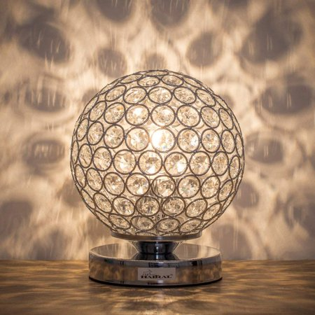 HAITRAL Silver Crystal Ball Table Lamp, Vintage Modern Night Lamp (HT-BD012S) ()