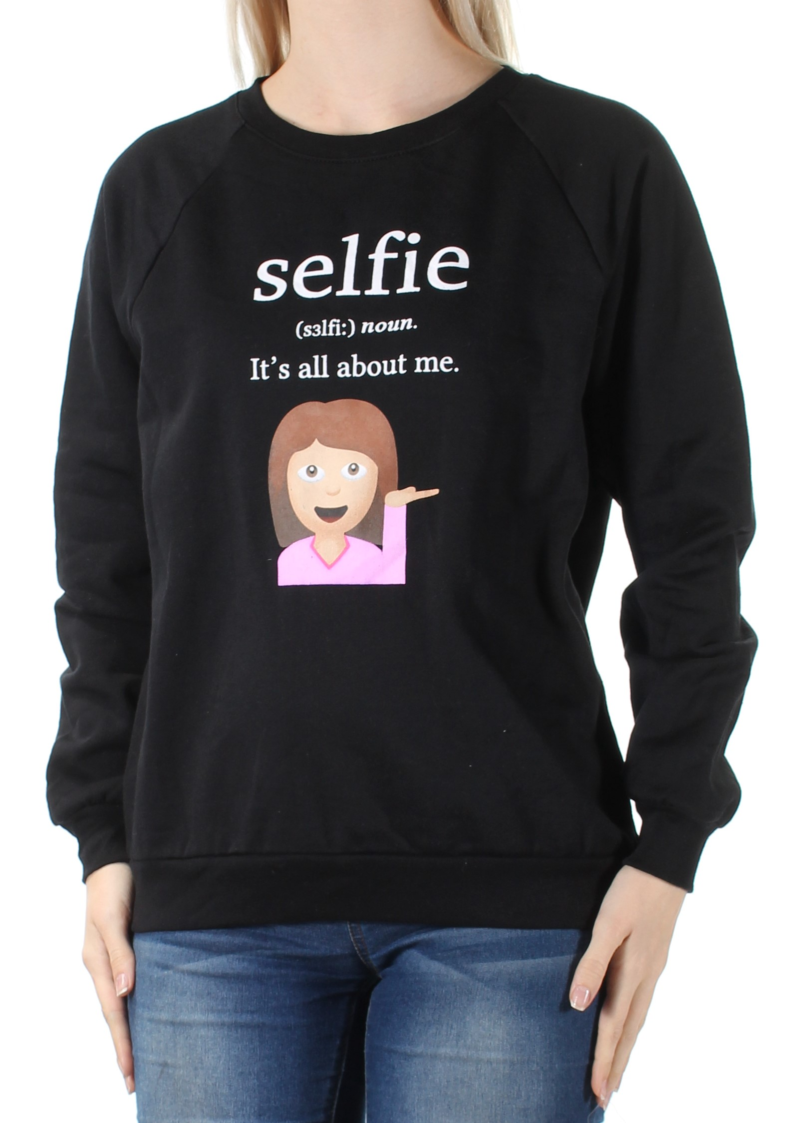 FREEZE Womens Black Sweatshirt Selfie Long Sleeve Crew Neck Top Juniors  Size: S