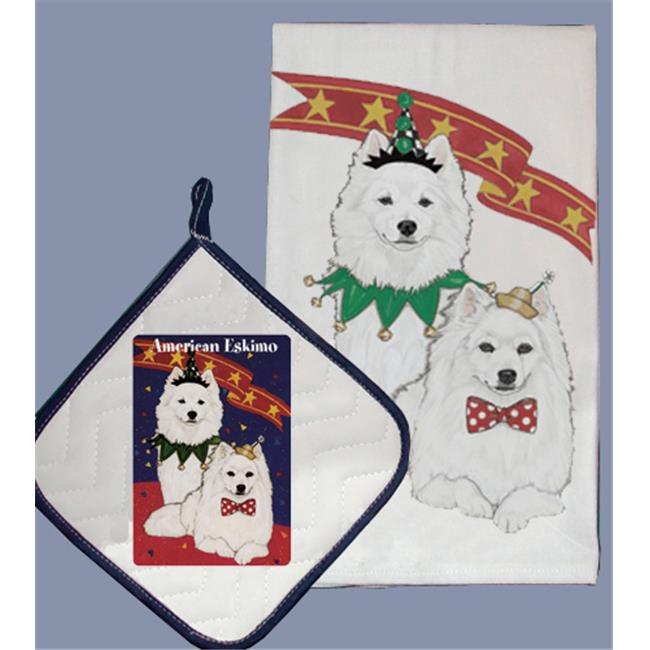 Pipsqueak Productions DP918 Dish Towel and Pot Holder Set - American Eskimo