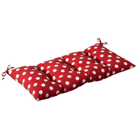 Outdoor Patio Furniture Tufted Bench Loveseat Cushion - Red & White Polka Dot