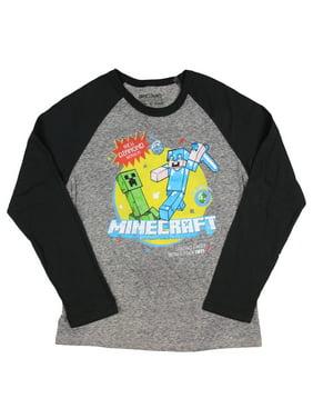 d1d66228 Product Image Minecraft Boys' New Diamond Series Steve Long Sleeve Raglan T- Shirt. Mad Engine