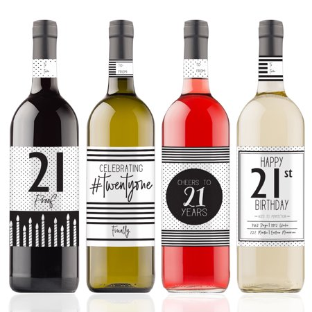 21st Birthday Wine Bottle Stickers, 4ct - Black and White Stripe and Polka Dot Birthday Party Supplies - 4 Wine Labels with Gift Tags