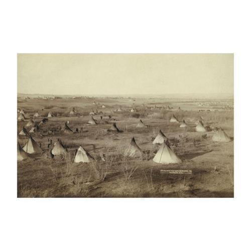 Native American Encampment - Lakota Indians Print (Canvas 24x36)