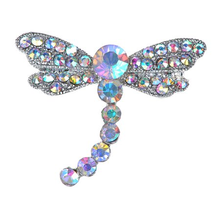 Silvery Tone Iridescent Rhinestones Dragonfly Insect Wings Brooch Pin