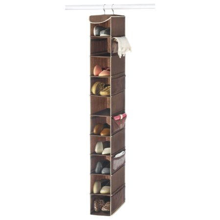 "Zober 10-Shelf Hanging Closet Organizer 5 1/2"" Wide, 10 1/2"" Deep and 54"" Tall, 10 Side Mesh Pockets And 2 Sturdy Hooks, For Clothes Storage, And Shoes, Etc. - Java"