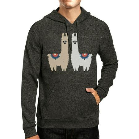 Llama Pattern Mens/Unisex Cool Grey Pullover Fleece (Cool Pullover)