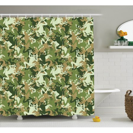 Animal Decor Shower Curtain Set, Skull Camouflage Military Design With Various Frog Pattern Different Tones Artprint, Bathroom Accessories, 69W X 70L Inches, By Ambesonne for $<!---->