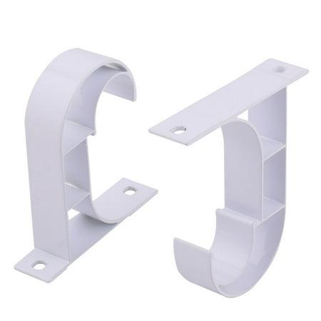 Curtain Rod Brackets, White, Set of 2, PVC Curtain Rod Bracket for Walls, Curtain Rod Holder
