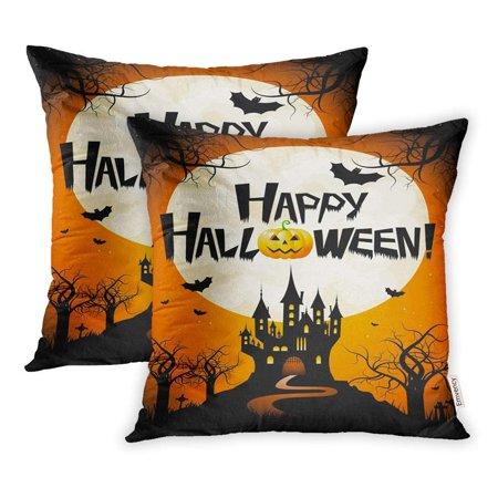 CMFUN Orange Bat Halloween Happy Branch Castle Cemetery Creepy Event Graveyard Hill Pillowcase Cushion Cover 16x16 inch, Set of 2