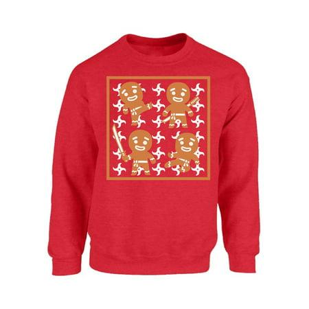 Hedgehog Christmas Sweater.Mezee Gingerbread Ninja Christmas Sweatshirt Funny Gingerbread Christmas Sweaters Ugly Christmas Sweater For Women And Men Ginja Ugly Sweatshirt Xmas