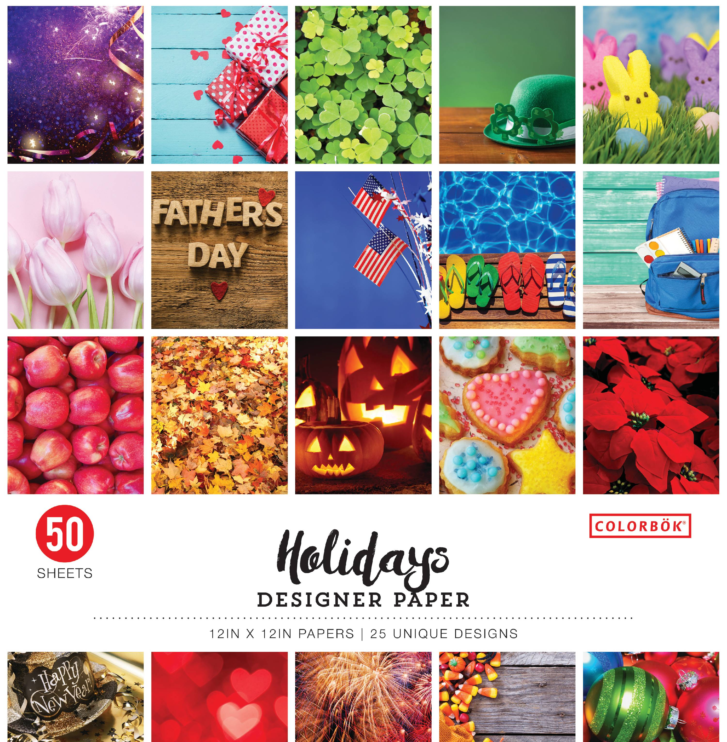 12in Designer Paper Holidays