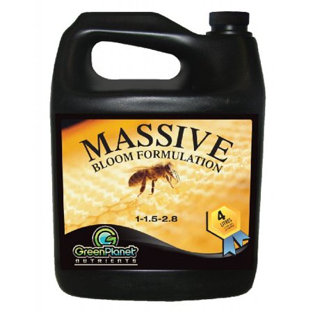 Green Planet Nutrients - MASSIVE (1 Liter) - Bloom Stimulator (1-1.5-2.8)- An Unique Blend of Vitamins, Minerals and Growth Stimulants - High Performance Flowering Additive with Organic Components (Best Organic Nutrients For Flowering Cannabis)