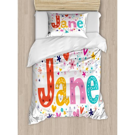 Jane Twin Size Duvet Cover Set, Cartoon Style Festive Celebratory Design Rhombuses Flowers and Snowflakes Baby Name, Decorative 2 Piece Bedding Set with 1 Pillow Sham, Multicolor, by