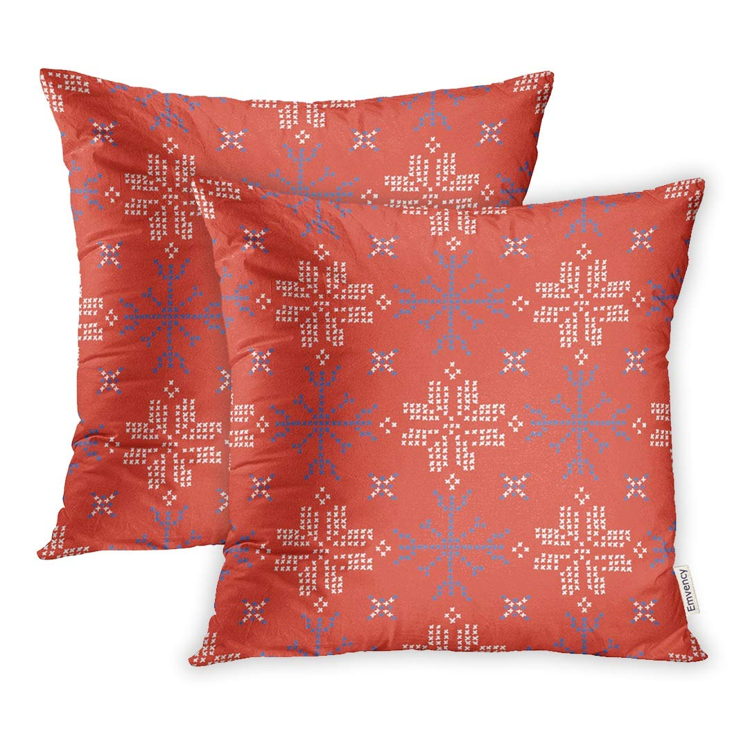 YWOTA Snowflake Stitches Cross Stitch Ice for Winter Festive Craft Packaging Red Blue Pillow Cases Cushion Cover 16x16 inch