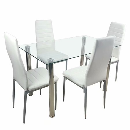 Akoyovwerve Dining Table and Chairs Set for 4,Glass Dining Table Set with 4 Chairs Transparent & Creamy White ()