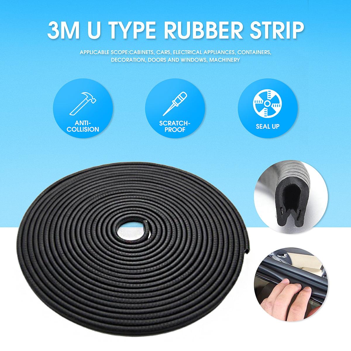 3M Edge Protector Rubber Seal Moulding Strip U Shape Channel Auto Car Door Guard Mold Trim Black 10mmx6mm