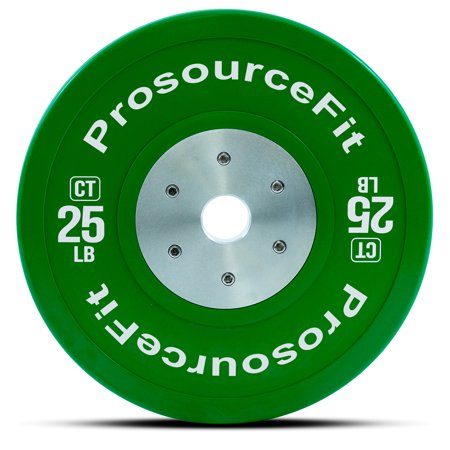 ProsourceFit Competition Color Training Bumper Plates (Sold Individually), Rubber with Steel Insert, 25-55 lb, Calibrated for CrossFit, Power Lifting, Weight Training