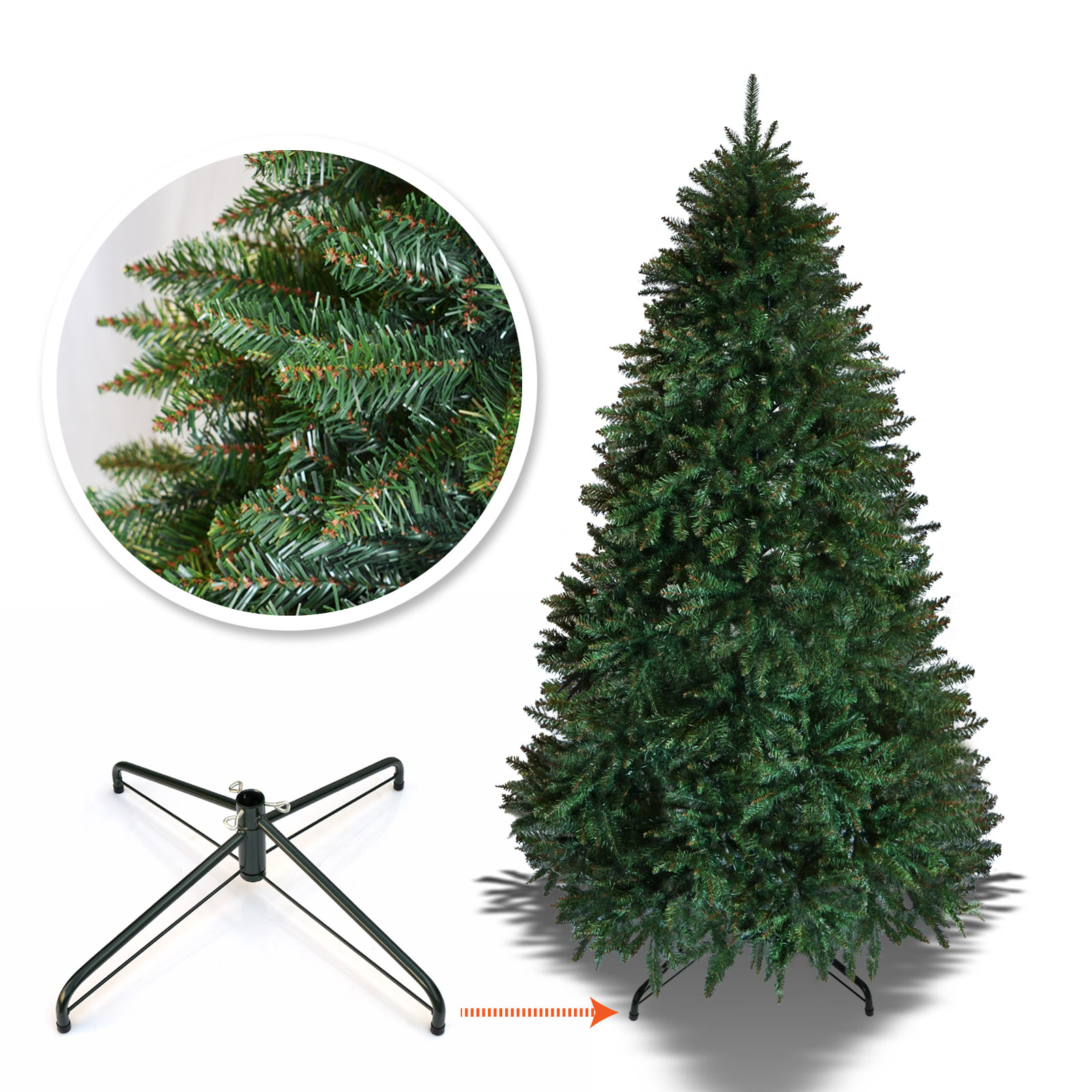 Strong Camel Artificial Christmas Tree Full Spruce with Metal Stand Xmas Hoiday Decoration (6.5' with 1880 Tips)
