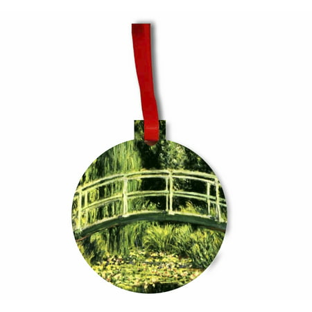 Green Pond Lily - monet pond water lilies green Flat Round Shaped Hardboard Hanging Christmas Holiday Tree Ornament Made in the U.S.A.
