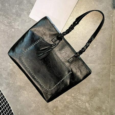 Fashion Women Handbag Tassel Zipper Closure PU Leather Straps Vintage Tote Shoulder Bag - image 5 de 7