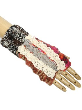 Multi-Color Soft Come Closer Laced Pattern Design Knitted Fingerless Gloves