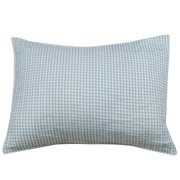 Pale Blue Gingham and Chambray Stripe Standard Pillow Sham