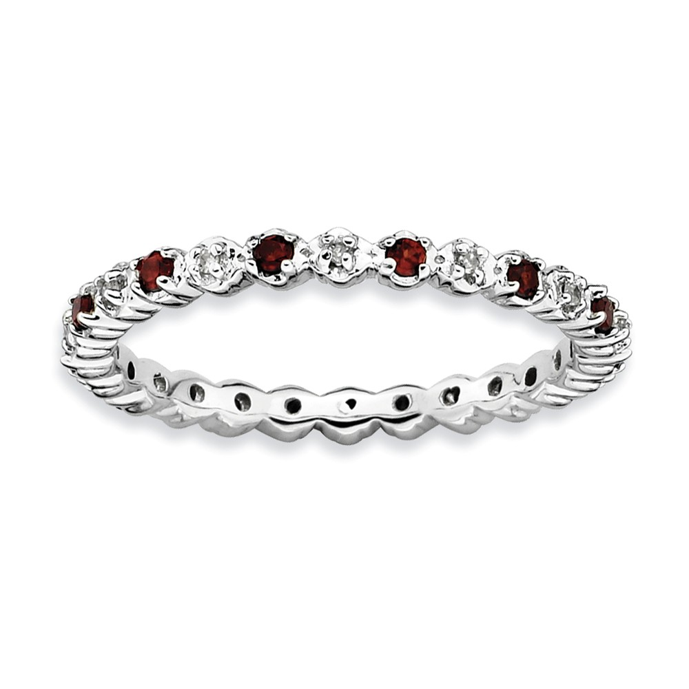 Sterling Silver Stackable Expressions Garnet & Diamond Ring by Goldia