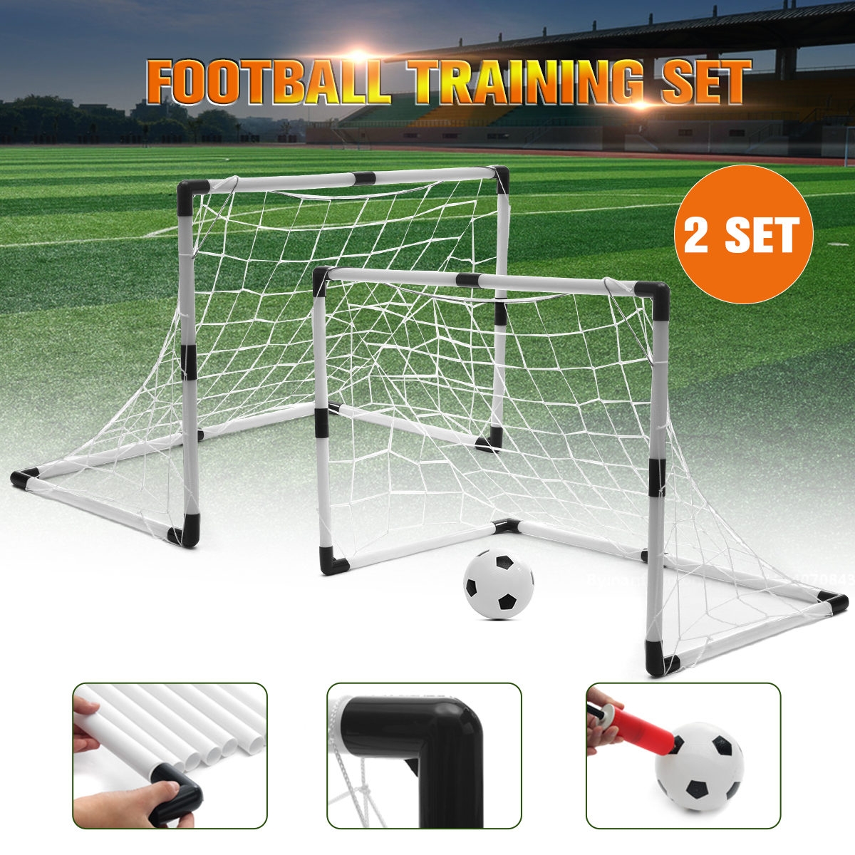 Lightweight Backyard Soccer Goal & Pitchback Set For Kids ...
