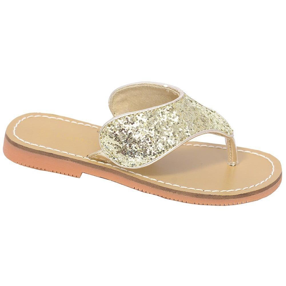 L'Amour Gold T Strap Flip Flop Summer Spring Sandal Toddler Girl 7-10