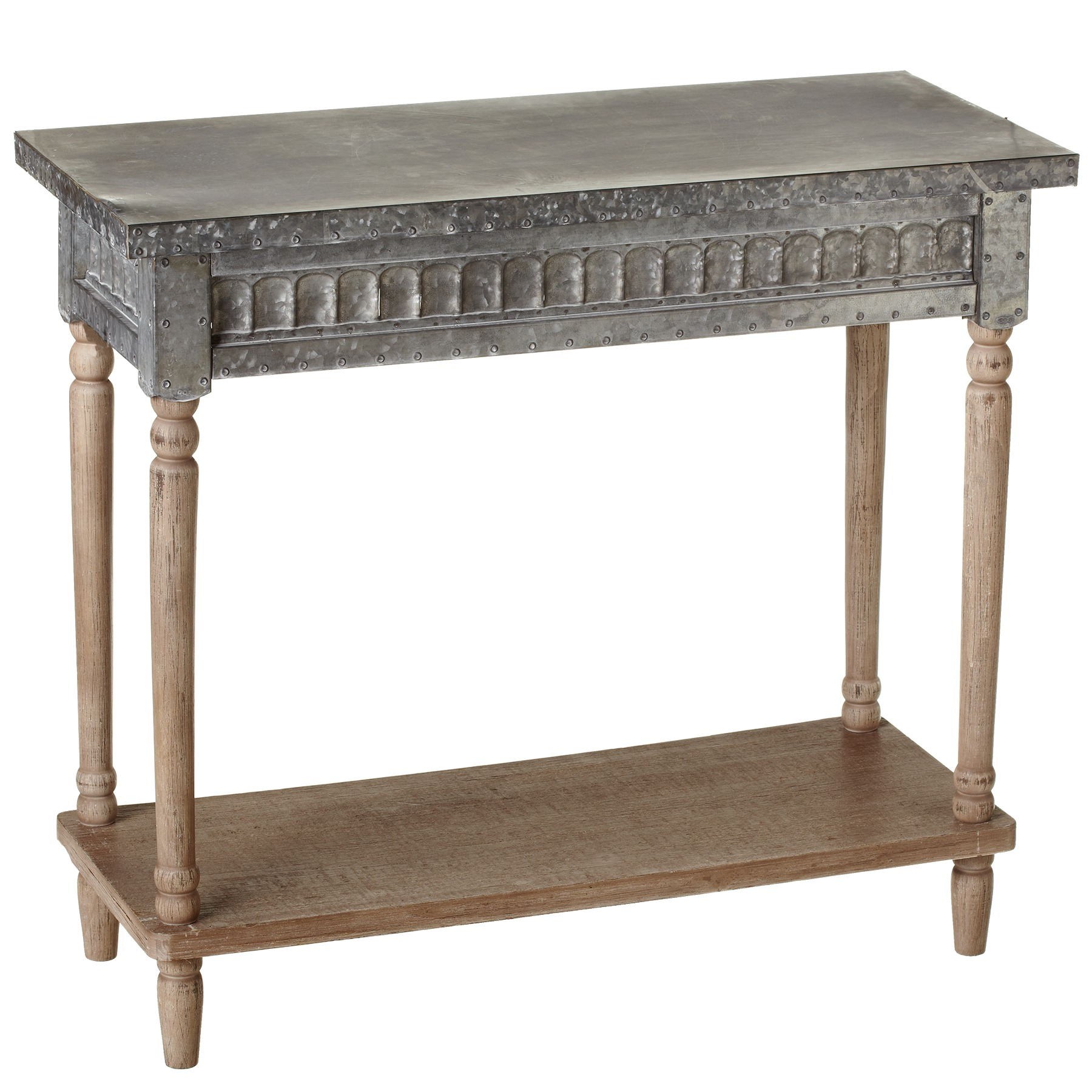 CBK Metal Galvanized Console Table With Greywash Legs And Shelf 158737